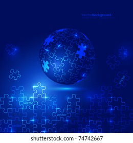 Glowing Blue 3d Globe Puzzle Vector Background