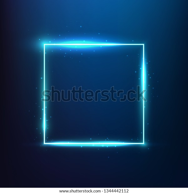 48b13d91 Glowing blue light effect frame with glitters. Vibrant square neon frame. Blue  square effect