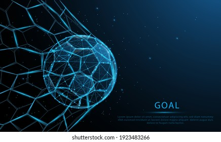 glowing blue Soccer ball in the goal. Low polygon, particle, and triangle style design.Wireframe light connection structure.Goal setting concept