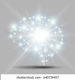 Glowing brain polygon with shiny light burst