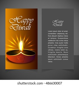 Glowing brown background glowing diya over abstract background. happy Deewali vertical banner template