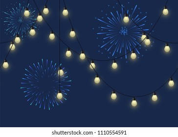 Glowing bulb garland with fireworks, decorative light garland and salute on dark background, footer and banner lamps, vector illustration