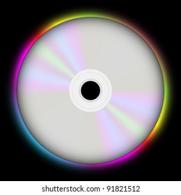 Glowing CD Compact Disc on Black Background