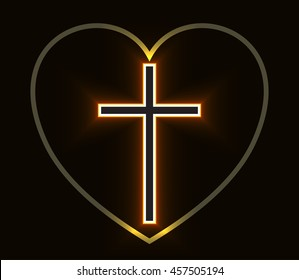 Glowing Christian Cross and Heart isolated over black background. Fire cross, holy cross drawing. Vector illustration.