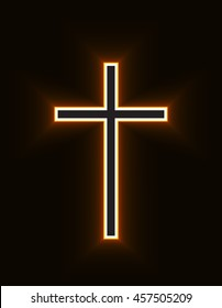 Glowing Christian Cross isolated over black background. Fire cross, holy cross drawing. Vector illustration.