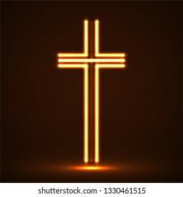 Glowing christian cross. Religious symbol. Vector