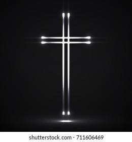 Glowing christian cross. Religious symbol. Vector illustration. Eps 10