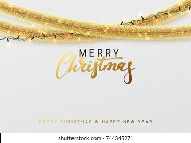 Glowing Christmas background. Design traditional Christmas decorations, gold tinsel, bright light garlands. Xmas holiday, vector greeting card