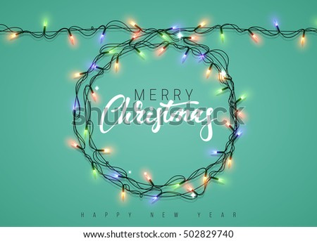 Topiary scroll garland with warm white led christmas lights