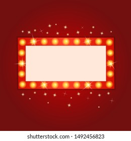 Glowing cinema signboard with light bulbs on the contour. Isolated on red background. Vector illustration, eps 10.