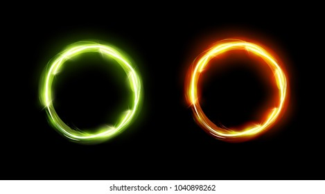Glowing Circles in Green and Orange colors. Perfect Design of Frames with Copy Space.