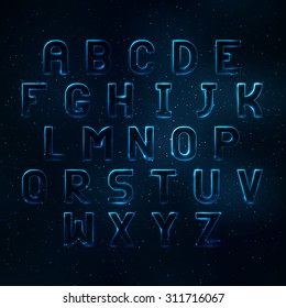 Glowing cosmic neon font. Shiny capital letters latin alphabet