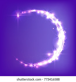 Glowing crescent moon. Neon glitter, bright, flickering glare. Celebratory background. Magic sky.