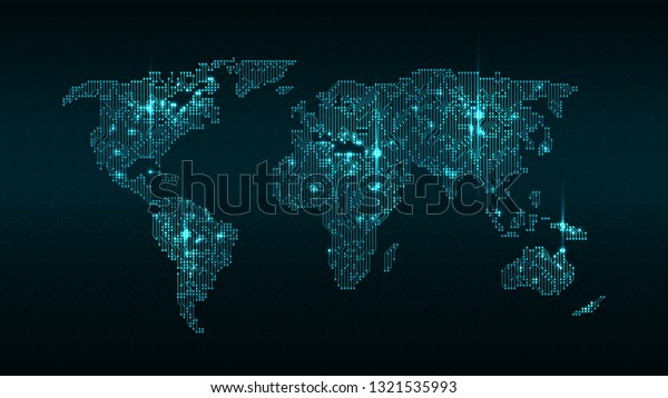 Glowing Digital World Map Circuit Background Stock Vector