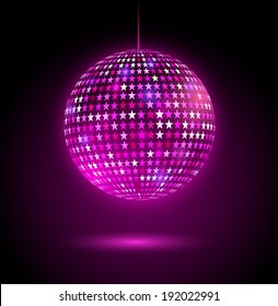 Glowing disco ball with stars. Vector illustration.