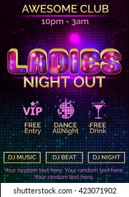 Glowing disco pink and gold advertising poster customizable template for ladies night out. Replace existng text to customize template for your event.