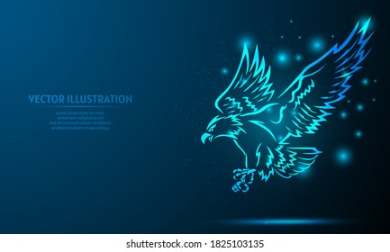 glowing eagle on a dark blue background of the space with shining stars.