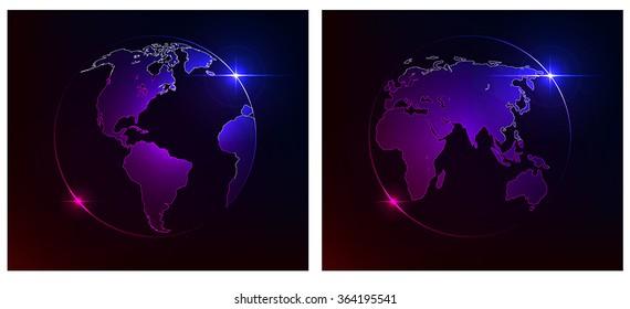 Glowing Earth on a dark background. Western and Eastern hemispheres