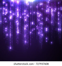 Glowing falling sparkles and stars. Rain of glittering particles. Light effect. Holiday shimmering decoration. Vector illustration of hanging festoon. Sparkling threads curtain. Confetti effect
