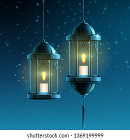 Glowing fanous or vintage fanoos, hanging islam lantern or antique arab light with candle at night. Background symbol or object for ramadan kareem or eid mubarak. Eastern or muslim holiday theme