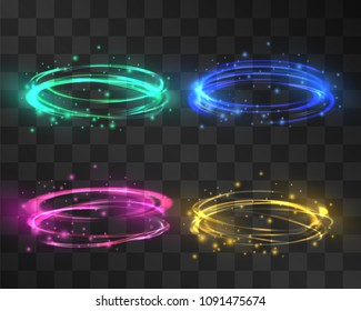 Glowing festive swirl effect set, luminous rings with wet metallic halo, illumination painting. Vector abstract neon light effect circles backgrounds. Meditative pulsing, twinkling stardust rings.