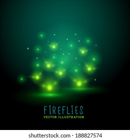 Glowing Fireflies. A group of glowing fireflies at night, vector illustration