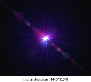 Glowing flash. Sparkling light effects of lens flare with colorful twinkle. Beautiful glare effect with bokeh, glitter particles and rays. Shining abstract background. Vector illustration