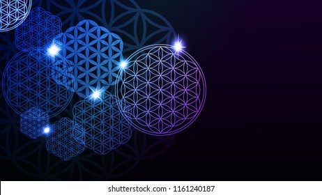 Glowing Flower of Life. Vector illustration.