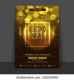 Glowing Flyer, Template or Banner design for Night Party celebration.