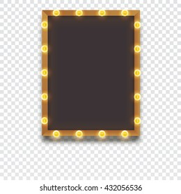 Glowing frame with light bulbs, retro looks frame template, vector illustration for your presentation, posters, cover and other design