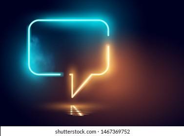 A glowing futuristc Neon speech bubble sign. Vector illustration