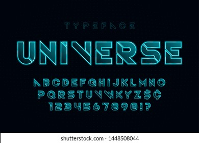 Glowing futuristic sci-fi alphabet, creative characters set. Vector illustration