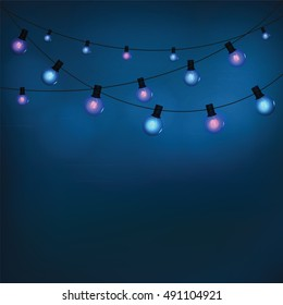 Glowing garland light bulbs for a blue holiday background. Vector illustration