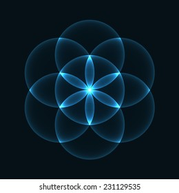 Glowing Geometrical Ornament - Flower of Life Pattern