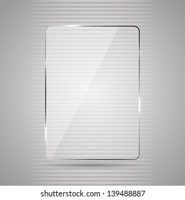 Glowing glass panel on a gray background, illustration.