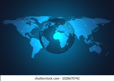 Glowing global network connection. World map expand as global business, composition concept. Vector Illustration.