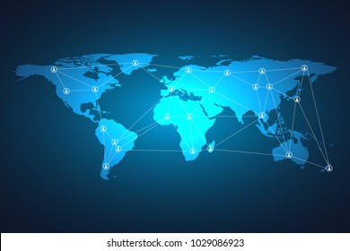 Glowing global network connection. World map mesh and line as global business, composition concept. Vector Illustration.