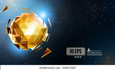 The glowing gold polygonal abstract triangular sphere combine on dark shatter graphic template background