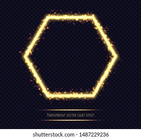 Glowing golden hexagonal frame with light effects. Shining polygon isolated on transparent background. Fire flame with particles. Neon vector illustration.