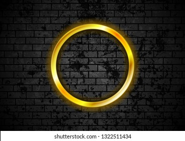 Glowing golden neon circle frame on black grunge brick wall. Vector design