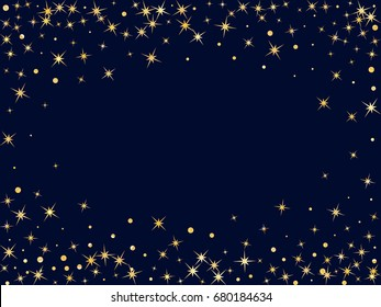 Glowing golden star and circle sparkles border or frame for text on dark blue background. Vector decorative astral pattern design for horizontal card or banner. Glitter frame, stars border.