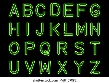 Glowing green neon alphabet isolated and transparent. Custom handcrafted light bulb font for design. Vector.