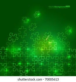 Glowing Green Puzzle Vector Background