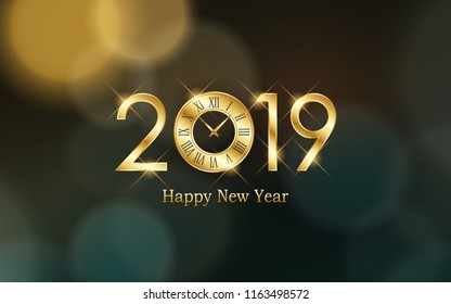 glowing Happy new year 2019 and clock with abstract bokeh and lens flare pattern in vintage color style background