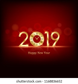 glowing Happy new year 2019 and clock face with abstract bokeh and lens flare pattern in red color background