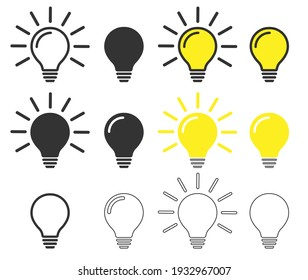 Glowing idea light bulb icon symbol set. Lamp logo shape silhouette. Vector illustration image. Isolated on white background.
