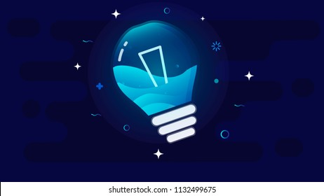 Glowing incandescent lamp against the night sky, inside the lamp splashing sea waves.