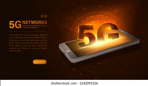 Glowing isometric illustration smartphone and 5G symbol. 5G new wireless internet wifi connection. Fifth innovative generation of the global high speed Internet network. Vector concept landing page.