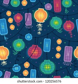 Glowing lanterns seamless pattern background