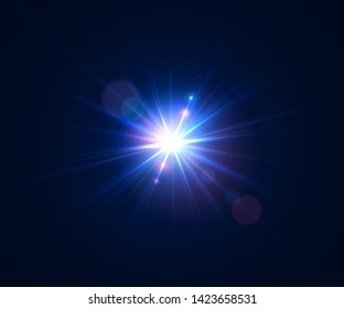 Glowing lens flare. Beautiful glare effect with bokeh, glitter particles and rays. Sparkling light effects of flash with colorful twinkle. Shining abstract background. Vector illustration.